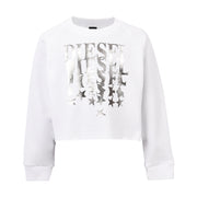 Girl's Diesel White Logo Cropped Sweater