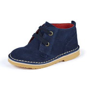 Boy's Kickers Adlar Desert Boots Blue Suede Shoes