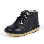 Kickers Chuck Black Leather Shoes