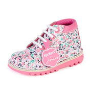 Kicker's HI Printed Leather Kickers for Joules Pink/White Shoes