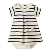 Petit Bateau - Girls Cream dress body with navy stripes - WHIZZKID.COM