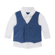 Boy's  Mayoral Long Sleeve Shirt With Vest And Bow Blue