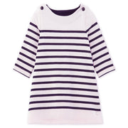 Girl's Petit Bateau Pink Long Sleeve Top With Navy Stripes