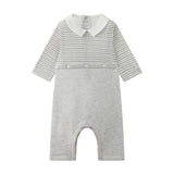 Boy's Petit Bateau Grey Stripped Bodysuit
