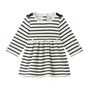 Girl's Petit Bateau Mae Cream/Blue Dress