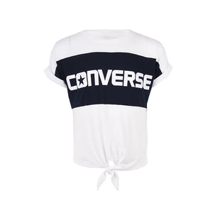 Girl's Converse Colour Block Tie Front Top White