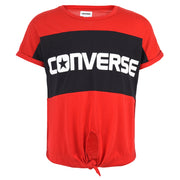 Girl's Converse Colourblocked Tie Front Top Enamel Red