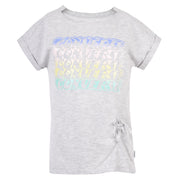 Girl's Converse Asymmetrical Tie Front Tee Lunar Rock Heather