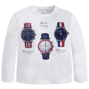 Boy's Mayoral Long Sleeve Watch T-Shirt Cream