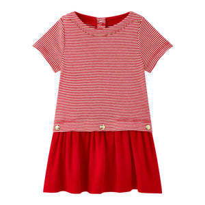 Girl's Petit Bateau Red Moby Dress