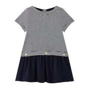 Girl's Petit Bateau Navy Moby Dress