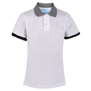 Boy's Lanvin Check Collar White Polo