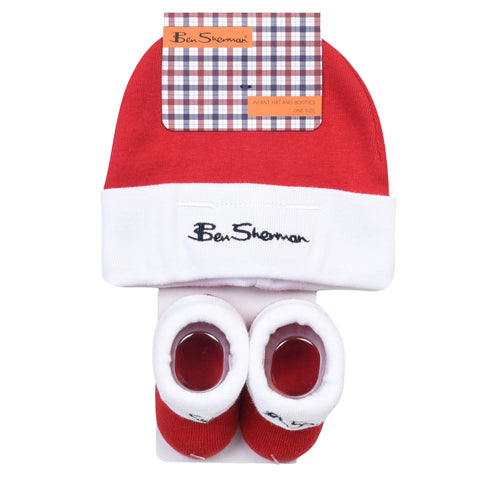 Boy's Ben Sherman Core Script Hat And Booties Pack Bright White