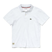 Boy's Lacoste Short Sleeved Ribbed Collar Shirt White