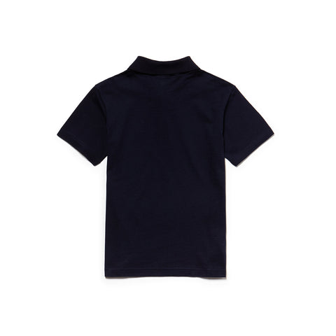 Boy's Lacoste Short Sleeved Ribbed Collar Navy Polo