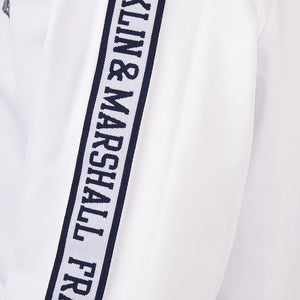 Franklin and Marshall Tricot Shoulder Tape Hoodie Bright White
