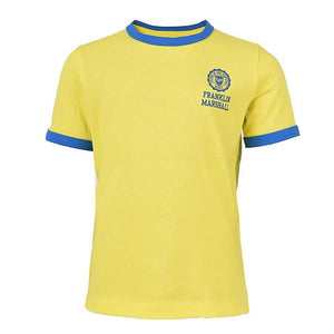 Boy's Franklin and Marshall Retro Logo Ringer Tee in Sunny Yellow