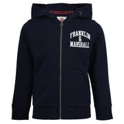 Franklin and Marshall Badge Logo Zip Hoodie Navy