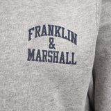 Franklin and Marshall Badge Logo Zip Hoodie Vintage Grey Heather