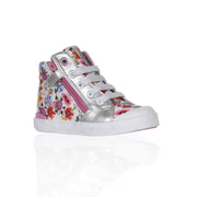 Geox - White Baby Girls Canvas Hi-Top Sneakers - WHIZZKID.COM