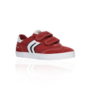 Geox - Red Suede & Canvas Junior Boys Velcro Sneaker - WHIZZKID.COM