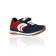 Geox - Navy & Red Mesh Suede Trainers For Boys - WHIZZKID.COM