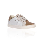 Geox - White & Gold Geobuck Suede Girls Trainers - WHIZZKID.COM