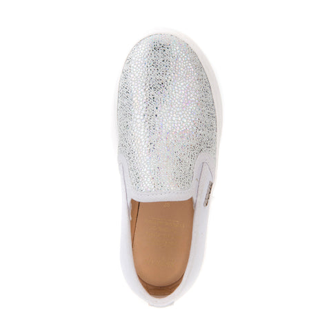 Girl's Geox Silver Slip On Shoes