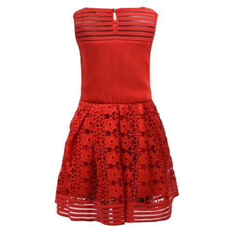 Girl's Marciano Red Lace Dress