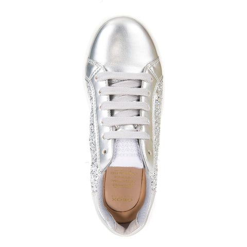 Girl's Geox Silver Glitter Trainers