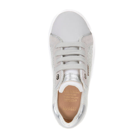 Girl's Geox Silver Glitter Lace Up Trainers
