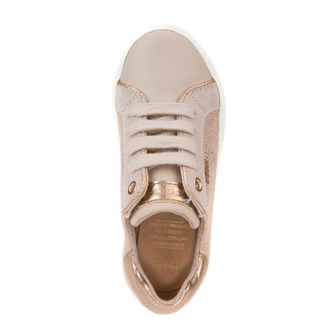 Girl's Geox Gold Lace Up Trainers