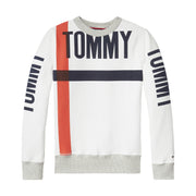 Boy's Tommy Hilfiger Bold Text Crew Neck White Sweatshirt