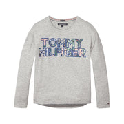 Girl's Tommy Hilfiger Long Sleeve Logo Grey T-Shirt