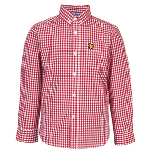 Lyle & Scott - Boys Gingham Check Shirt Royal Red - WHIZZKID.COM