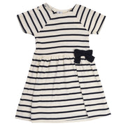 Petit Bateau - Girls White dress with a navy stripes and bow - WHIZZKID.COM