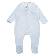 Petit Bateau - Boys Blue 3 quarter length sleeve baby body - WHIZZKID.COM