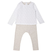 Petit Bateau - Unisex coffee all over print top and bottoms - WHIZZKID.COM