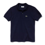 Boy's Lacoste Short Sleeve Ribbed Collar Navy Polo
