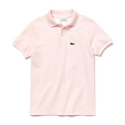 Boy's Lacoste Short Sleeve Ribbed Collar Pink Polo