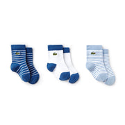 Boy's Lacoste Boxed Baby Socks White/Blue