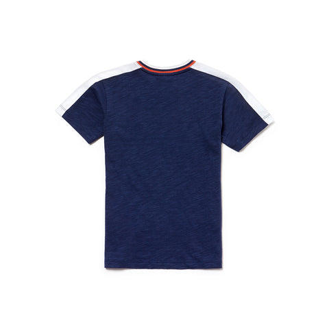 Unisex Lacoste Shoulder Stripe Tee-Shirt Navy