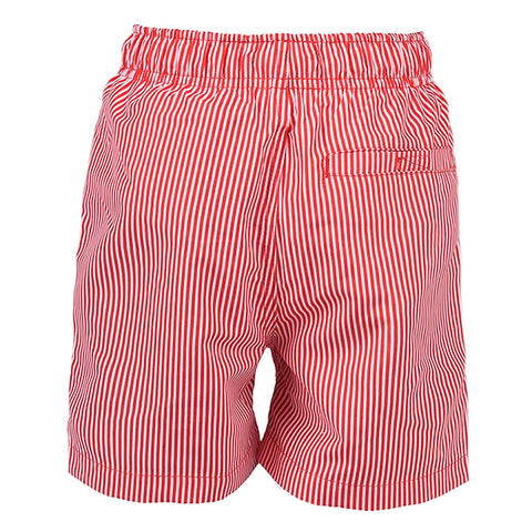 Searsucker Stripe Swim Short True Red