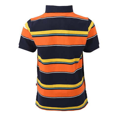 Engineered Stripe Polo Navy