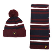 Boy's Lyle & Scott Stripe Beanie And Scarf Set Claret Jug