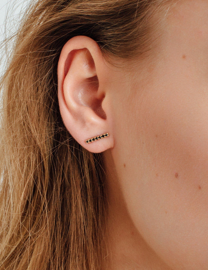 Midi Black Diamond Bar Earring