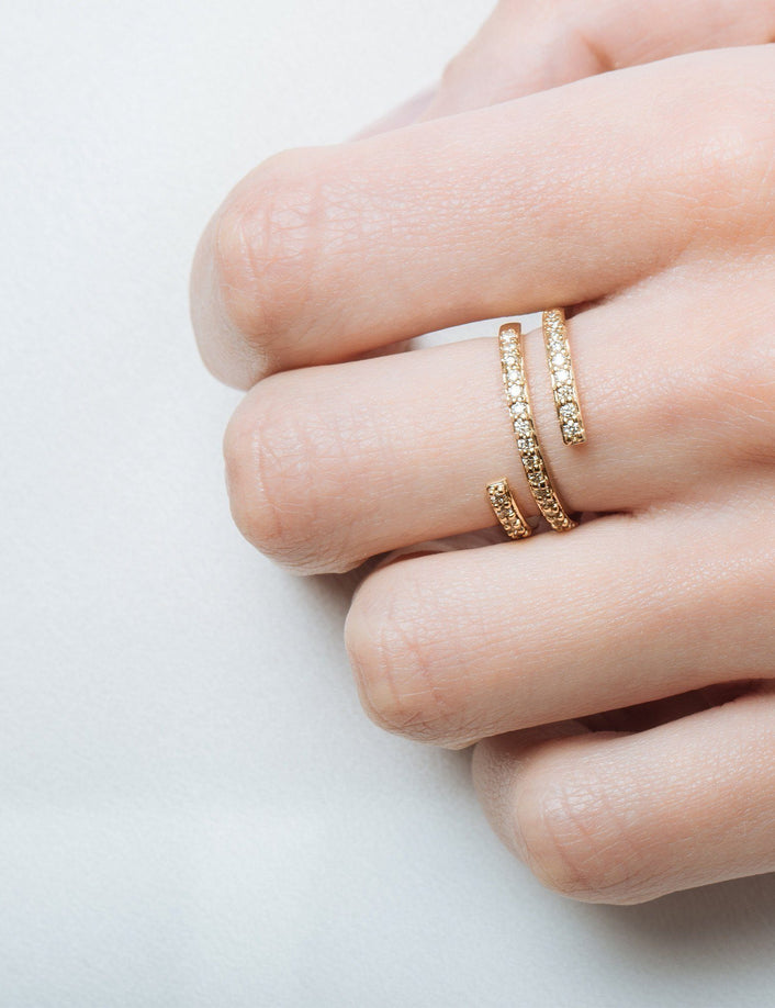 Wraparound Ring with White Diamonds