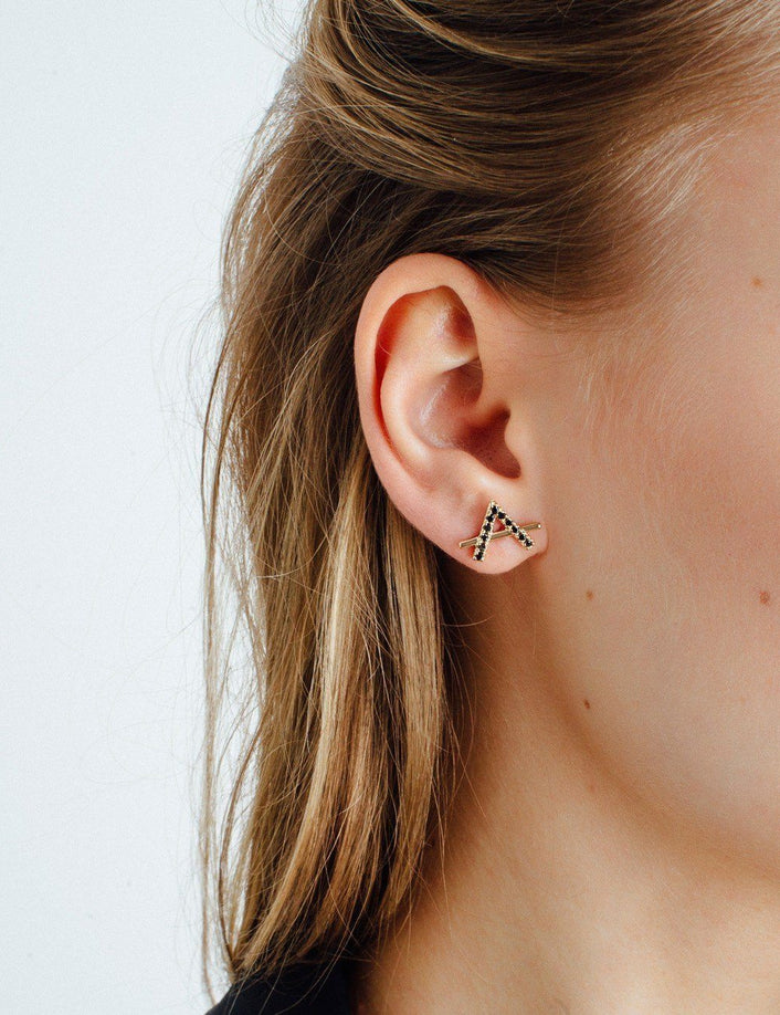 Icon Earring with White Diamonds