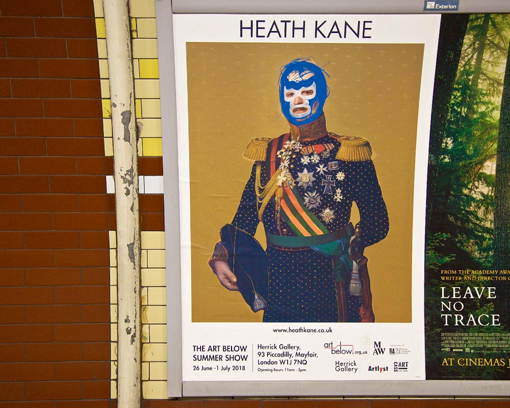 Poster by Heath Kane appearing in Hyde Park Corner Station London for Art Below