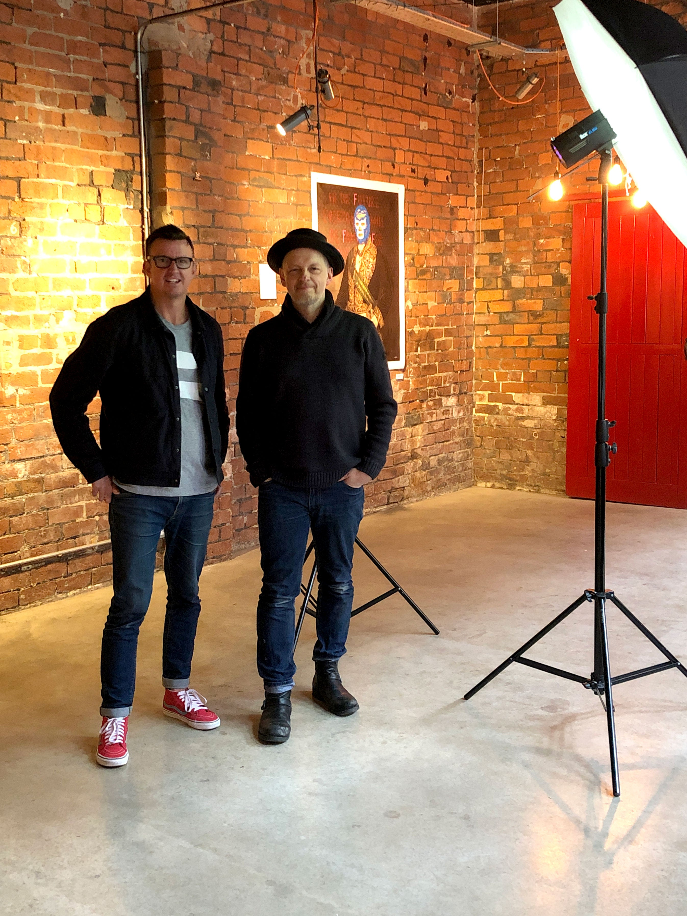 Heath Kane and photographer, Chris Saunders at 99 Mary St, Sheffield